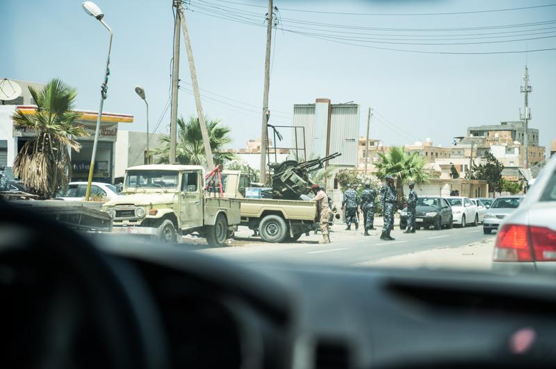 Militia guarding a petrol station