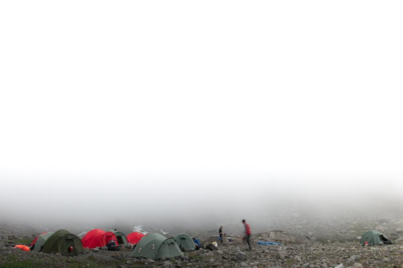 Camp below the glacier